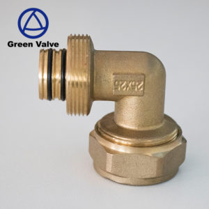 Green-BSPT Female Threaded Brass Fitting pex pipe fitting 90 degree elbow Brass Compression Elbow